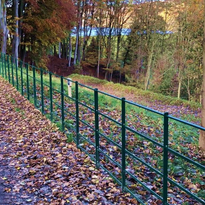 green metal fencing